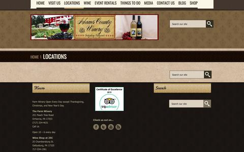 Screenshot of Locations Page adamscountywinery.com - Locations-Adams County Winery - captured Nov. 6, 2018