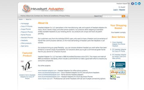 Screenshot of About Page headsetadapter.com - About Headset Adapter Company - captured Sept. 27, 2018