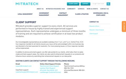Screenshot of Support Page mitratech.com - Mitratech Client Support - captured Jan. 27, 2016