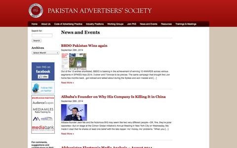 Screenshot of Press Page pas.org.pk - Pakistan Advertisers Society | Archive | News and Events - captured Oct. 1, 2014