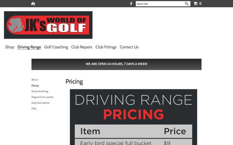 Screenshot of Pricing Page jksworldofgolf.co.nz - Pricing - JK's World of Golf - captured July 27, 2018