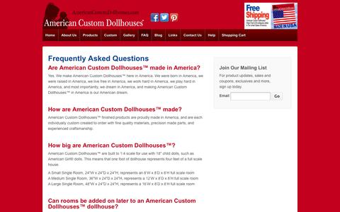 Screenshot of FAQ Page americancustomdollhouses.com - Frequently Asked Questions - American Custom Dollhouses™ - captured Oct. 4, 2014