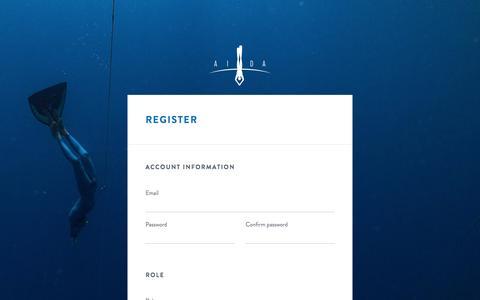 Screenshot of Signup Page aidainternational.org - AIDA administration | Register - captured July 23, 2016