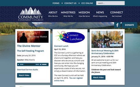 Screenshot of Home Page communitycovenant.net - Community Covenant Church — Eagle River Alaska - captured Jan. 30, 2016