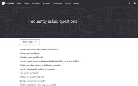 Screenshot of FAQ Page xero.com - Xero Developer - captured Oct. 4, 2017