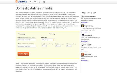 Domestic Airlines in India | Book Domestic Airlines Tickets in India at Cleartrip.com