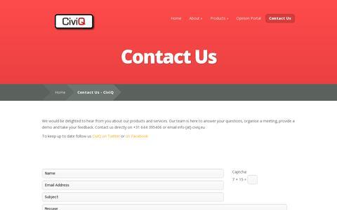 Screenshot of Contact Page civiq.eu - Contact Us - CiviQ | CiviQ - captured July 19, 2014