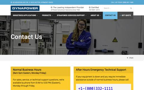 Screenshot of Contact Page dynapower.com - Contact Us | Dynapower - captured Oct. 13, 2017