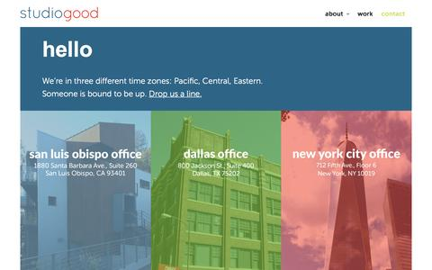 Screenshot of Contact Page studiogood.com - Contact | StudioGood - captured Feb. 26, 2016