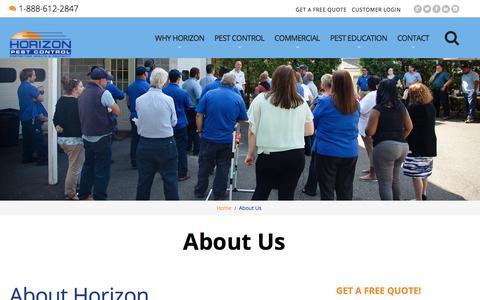 Screenshot of About Page horizonpestcontrol.com - About Us | Horizon Pest Control - captured July 21, 2018
