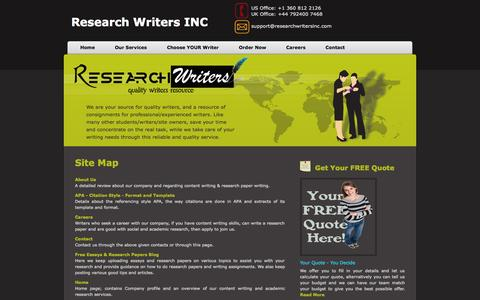 Screenshot of Site Map Page researchwritersinc.com - Site Map - Research, Academic & Content Writing | Research Writers INC - captured Oct. 7, 2014