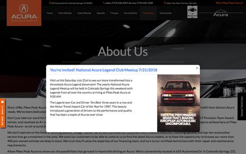 Screenshot of About Page pikespeakacura.com - Acura and Used Car Dealer Colorado Springs | Pikes Peak Acura - captured July 18, 2018