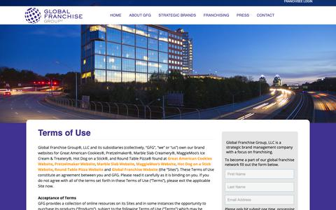 Screenshot of Terms Page globalfranchise.com - Terms of Use | Global Franchise Group - captured Sept. 26, 2018