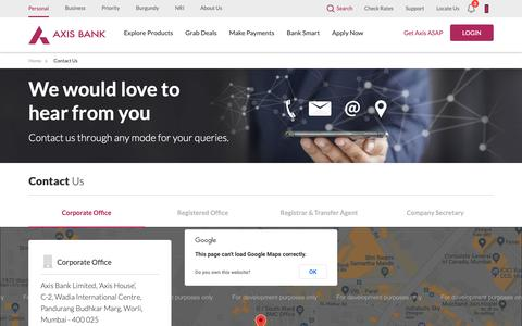 Screenshot of Contact Page axisbank.com - Contact Us - captured March 15, 2019