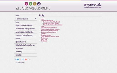 Screenshot of Site Map Page sellyourproductsonline.co.uk - Site Map: E-commerce Solutions | E-commerce Websites | E-commerce Web Design | Sell Your Products Online - captured Oct. 26, 2014