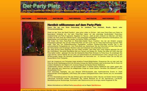 Screenshot of Home Page party-platz.de - Vermietung von Party-Raum für Feste, Geburtstage und Veranstaltungen in Mühlheim Raum Frankfurt Rhein-Main Hessen - captured June 9, 2016