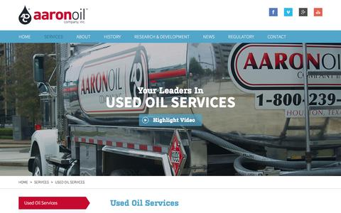 Screenshot of Services Page aaronoil.com - Used Oil Services | Aaron Oil - captured Oct. 4, 2014