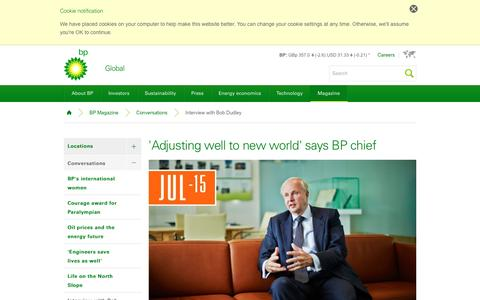 Screenshot of bp.com - 'Adjusting well to new world' says BP chief | Conversations | BP Magazine | BP Global - captured March 19, 2016