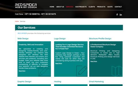 Screenshot of Services Page redspider.ae - Website Design and Development Services in Dubai UAE - captured Sept. 27, 2018