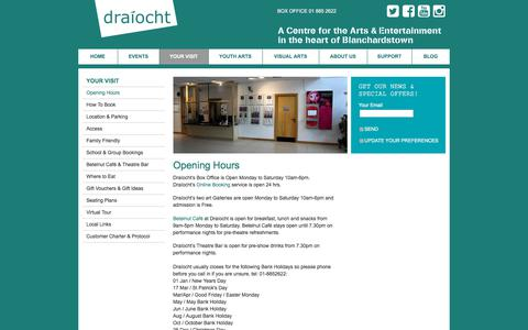 Screenshot of Hours Page draiocht.ie - Opening Hours  - Draíocht - captured Aug. 8, 2018