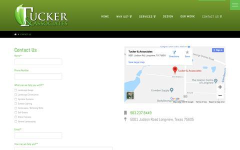 Screenshot of Contact Page longviewlandscaping.com - Contact Us | Tucker & Associates Landscaping - captured Oct. 19, 2018