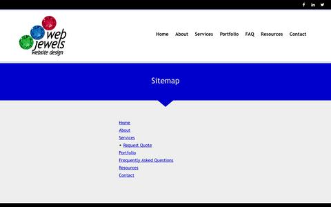 Screenshot of Site Map Page webjewels.ca - Sitemap - Web Jewels Website Design - captured Oct. 26, 2014