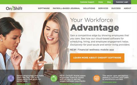 Screenshot of Home Page onshift.com - OnShift   Software for Long-Term Care & Senior Living - captured Oct. 9, 2017