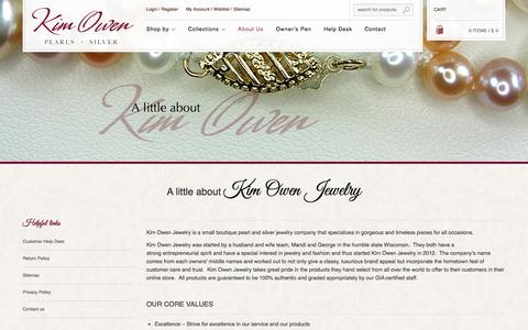 Screenshot of About Page kimowenjewelry.com - About   | Kim Owen Jewelry  Timeless Pearls & Silver Jewelry - captured Oct. 6, 2014
