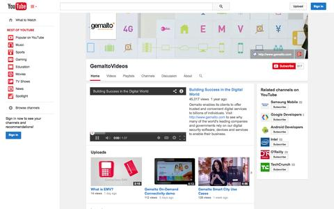 Screenshot of YouTube Page youtube.com - GemaltoVideos  - YouTube - captured Oct. 22, 2014