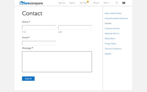 Screenshot of Contact Page farecompare.com - Contact - FareCompare - captured Dec. 3, 2015