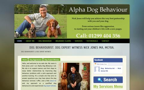 Screenshot of Home Page alphadogbehaviour.co.uk - Dog Behaviourist. Dog Expert Witness. Nick Jones MA. Alpha Dog Behaviour - captured Jan. 27, 2015