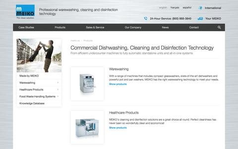 Screenshot of Products Page meiko.us - Commercial dishwashing, Bedpan washers, Disinfection Technology - captured May 26, 2017