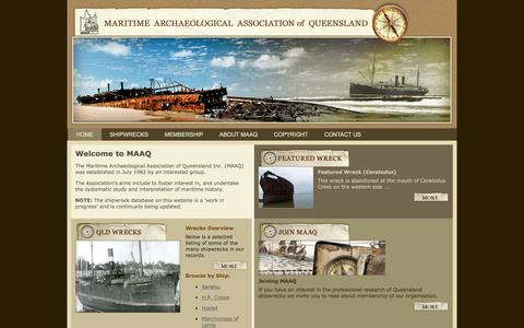 Screenshot of Home Page maaq.org.au - Maritime Archaeological Association of Queensland - captured May 22, 2016