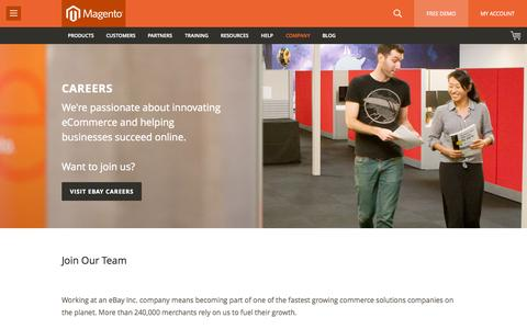 Screenshot of Jobs Page magento.com - Careers and Job Opportunities | Magento - captured June 16, 2015