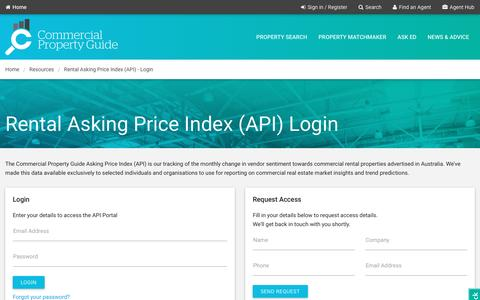 Screenshot of Login Page commercialpropertyguide.com.au - Login - Rental Asking Price Index (API)   commercialpropertyguide.com.au - captured May 19, 2017