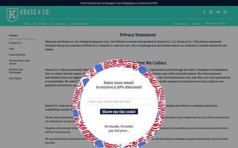 Screenshot of Privacy Page krassandco.com - Krass & Co. • Privacy Policy and Terms - captured Nov. 27, 2016