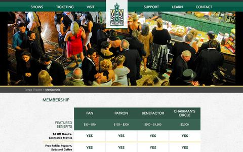 Screenshot of Signup Page tampatheatre.org - Membership | Tampa Theatre - captured Jan. 13, 2016