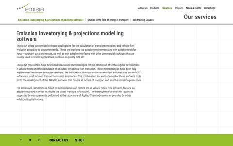 Screenshot of Services Page emisia.com - Emission inventorying & projections modelling software | Emisia SA - captured Jan. 28, 2016