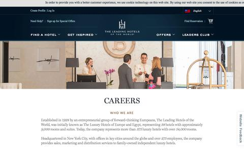 Screenshot of Jobs Page lhw.com - Careers : Leading Hotels of the World - captured Oct. 9, 2017