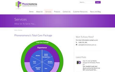 Screenshot of Services Page phonenomena.com.au - Phonenomena Corporate Telecommunications: Services | Phonenomena | Telstra Enterprise Partner | Enterprise Mobility Management - captured Oct. 28, 2014