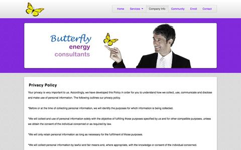 Screenshot of Privacy Page butterflyenergyconsultants.com - Privacy | Butterfly Energy Consulting - captured Nov. 3, 2014