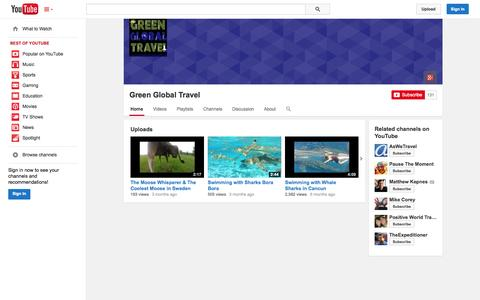 Screenshot of YouTube Page youtube.com - Green Global Travel  - YouTube - captured Oct. 22, 2014