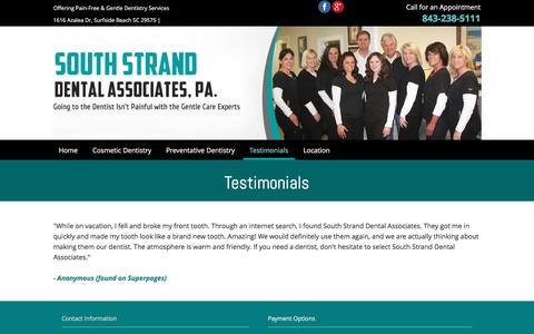 Screenshot of Testimonials Page southstranddental.com - Testimonials - Surfside Beach, SC - South Strand Dental Associates PA - captured June 17, 2016