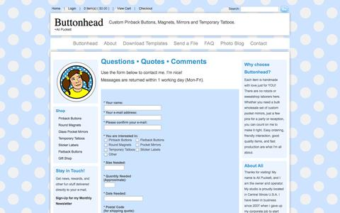 Screenshot of Contact Page buttonhead.biz - Contact • Buttonhead • I'm Nice! - captured Sept. 30, 2014