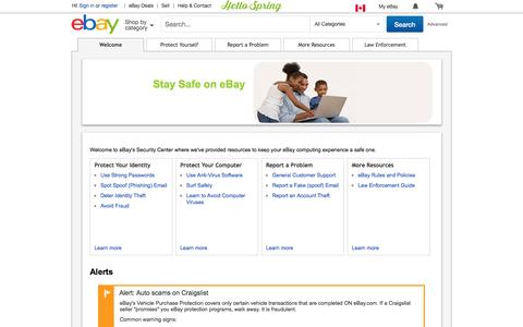 eBay Security Center: Welcome