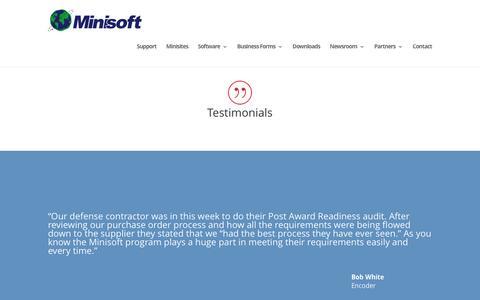 Screenshot of Testimonials Page minisoft.com - Testimonials | Minisoft, Inc. - captured Jan. 10, 2016