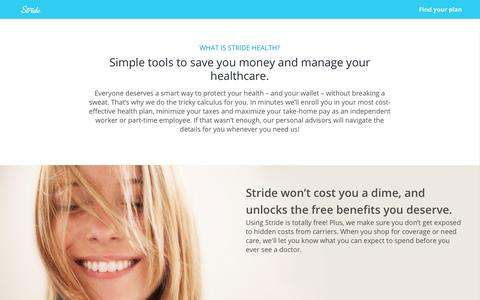 Screenshot of About Page stridehealth.com - Stride Health - About Us - captured Oct. 23, 2017