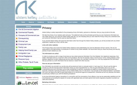 Screenshot of Privacy Page alsterskelley.com - Alsters Kelley Solicitors Lawyers Legal Advice Coventry Nuneaton Leamington > Privacy - captured Oct. 4, 2014