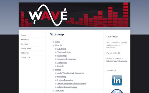 Screenshot of Site Map Page waveavsystems.com - WAVE Home - captured Oct. 7, 2014