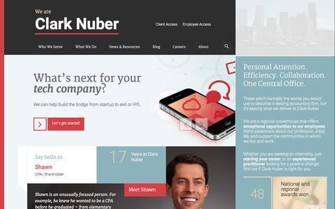 Screenshot of Home Page clarknuber.com - Clark Nuber - captured Jan. 19, 2015